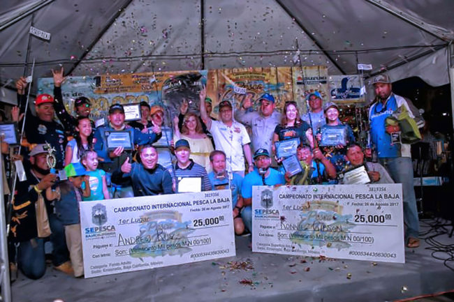 The Surface category was dominated by yellowtail with the largest weighing 9.2-pounds caught by Andrew Ruiz earning him 25,000 MXN. While the Bottom division was won with 11.4-pound halibut landed by Ronnie Gibson.