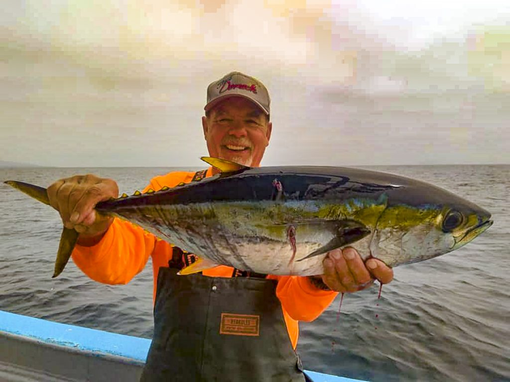 Bertoldo Garcia, fishing with Garcia's Pangas in San Quintin, managed to find one of the elusive offshore yellowfin tuna.